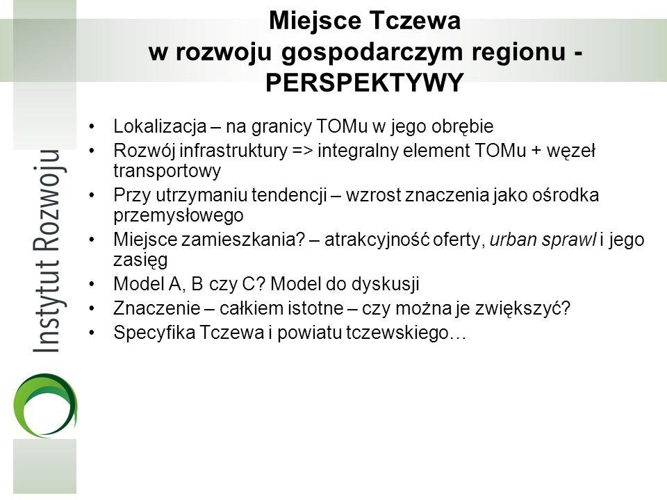 Miejsce Tczewa w rozwoju gospodarczym regionu - PERSPEKTYWY Lokalizacja – na granicy TOMu w jego obrębie Rozwój infrastruktury => integralny element T