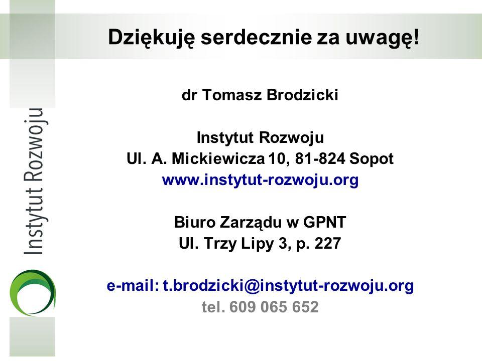 Dziękuję serdecznie za uwagę! dr Tomasz Brodzicki Instytut Rozwoju Ul. A. Mickiewicza 10, 81-824 Sopot www.instytut-rozwoju.org Biuro Zarządu w GPNT U