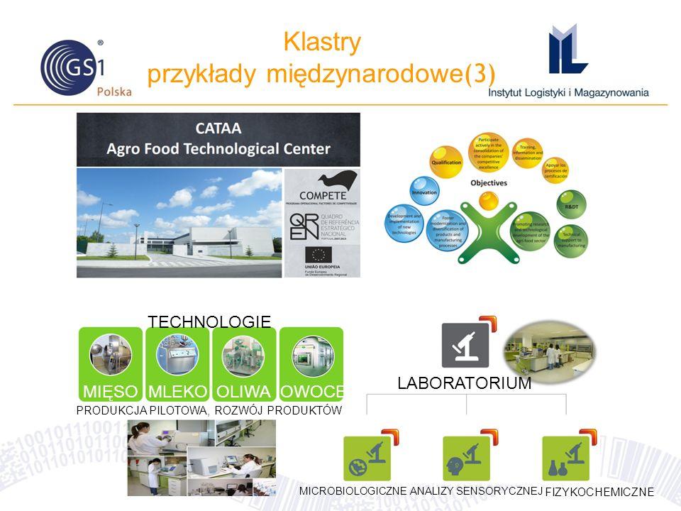 Klastry przykłady międzynarodowe (3) LABORATORIUM MICROBIOLOGICZNEANALIZY SENSORYCZNEJ FIZYKOCHEMICZNE TECHNOLOGIE MIĘSO MLEKOOLIWAOWOCE PRODUKCJA PILOTOWA, ROZWÓJ PRODUKTÓW