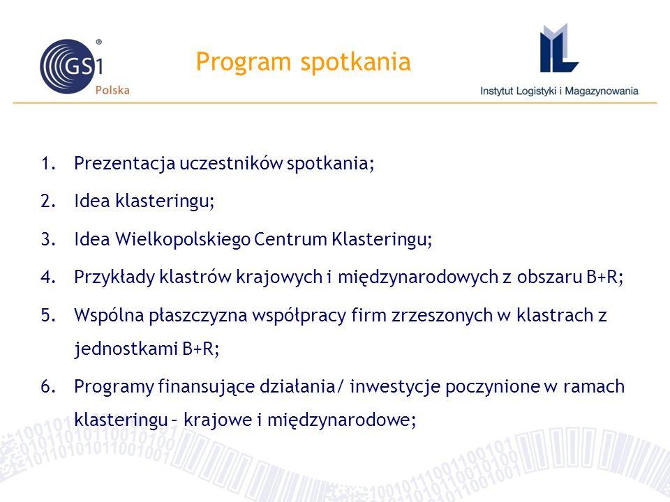 Program spotkania 1.Prezentacja uczestników spotkania; 2.Idea klasteringu; 3.Idea Wielkopolskiego Centrum Klasteringu; 4.Przykłady klastrów krajowych i międzynarodowych z obszaru B+R; 5.Wspólna płaszczyzna współpracy firm zrzeszonych w klastrach z jednostkami B+R; 6.Programy finansujące działania/ inwestycje poczynione w ramach klasteringu – krajowe i międzynarodowe;