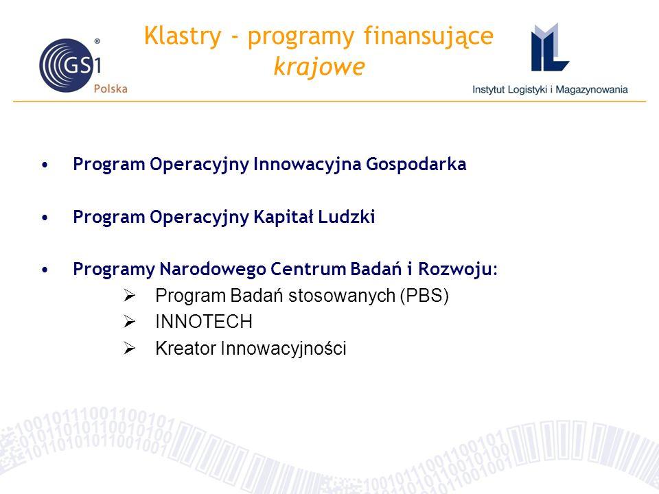 Klastry - programy finansujące krajowe Program Operacyjny Innowacyjna Gospodarka Program Operacyjny Kapitał Ludzki Programy Narodowego Centrum Badań i Rozwoju: Program Badań stosowanych (PBS) INNOTECH Kreator Innowacyjności