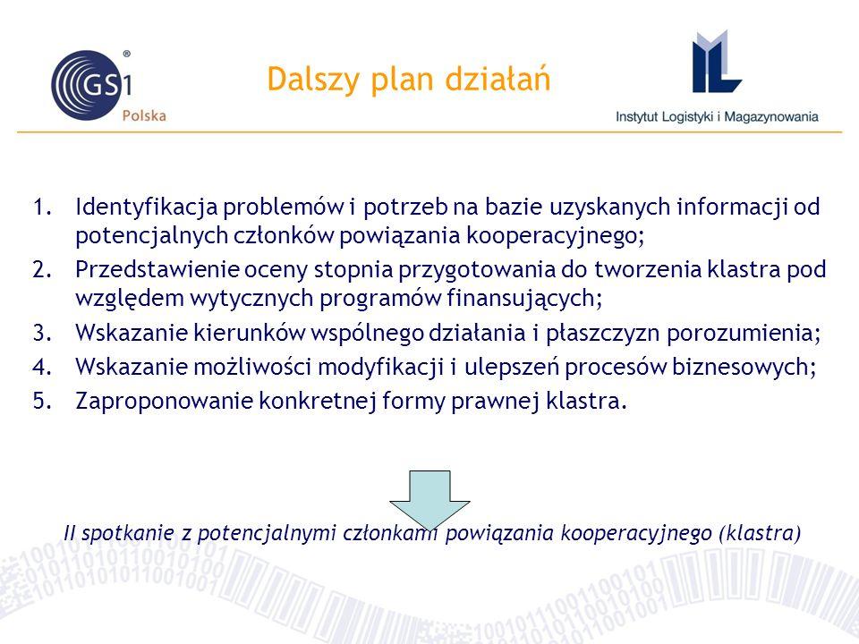 Dalszy plan działań 1.Identyfikacja problemów i potrzeb na bazie uzyskanych informacji od potencjalnych członków powiązania kooperacyjnego; 2.Przedstawienie oceny stopnia przygotowania do tworzenia klastra pod względem wytycznych programów finansujących; 3.Wskazanie kierunków wspólnego działania i płaszczyzn porozumienia; 4.Wskazanie możliwości modyfikacji i ulepszeń procesów biznesowych; 5.Zaproponowanie konkretnej formy prawnej klastra.