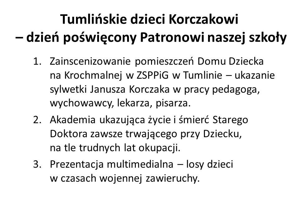 Tumlińskie dzieci Korczakowi – dzień poświęcony Patronowi naszej szkoły 1.Zainscenizowanie pomieszczeń Domu Dziecka na Krochmalnej w ZSPPiG w Tumlinie