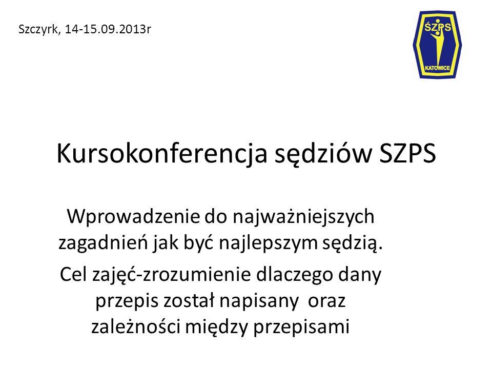 Kursokonferencja sędziów SZPS Szczyrk, 14-15.09.2013r Wprowadzenie do najważniejszych zagadnień jak być najlepszym sędzią.