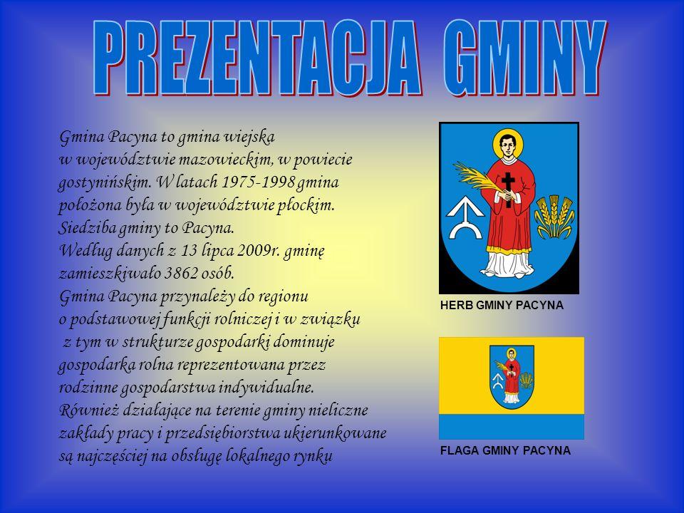 HERB GMINY PACYNA FLAGA GMINY PACYNA Gmina Pacyna to gmina wiejska w województwie mazowieckim, w powiecie gostynińskim.
