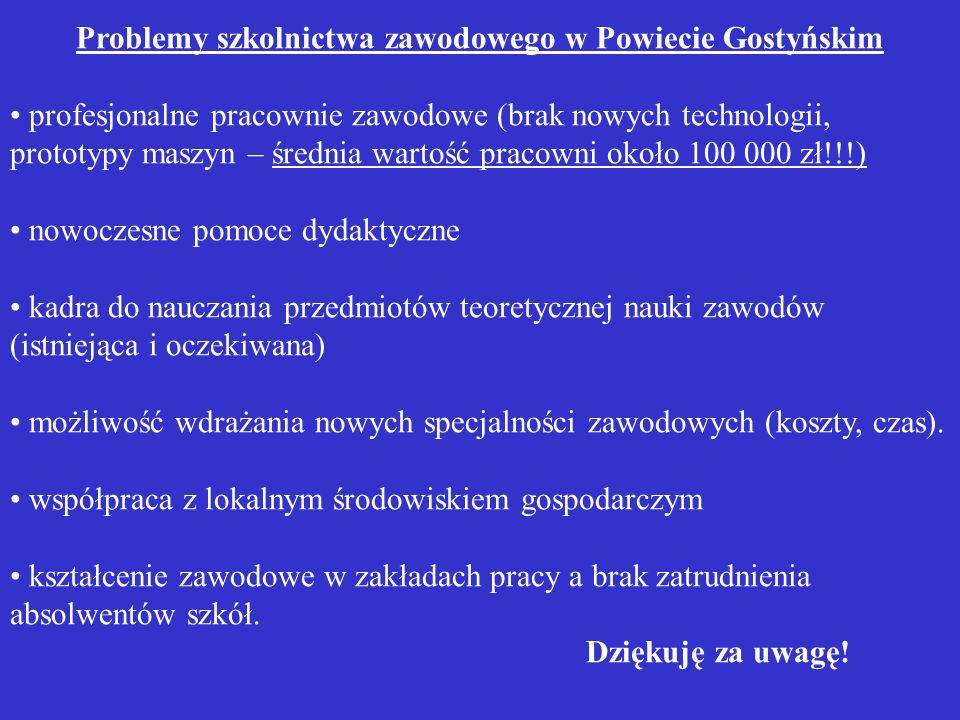 Problemy szkolnictwa zawodowego w Powiecie Gostyńskim profesjonalne pracownie zawodowe (brak nowych technologii, prototypy maszyn – średnia wartość pr