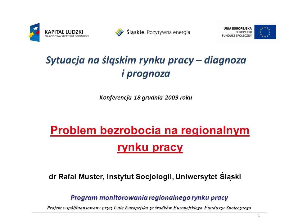 Sytuacja na śląskim rynku pracy – diagnoza i prognoza Konferencja 18 grudnia 2009 roku Problem bezrobocia na regionalnym rynku pracy dr Rafał Muster,