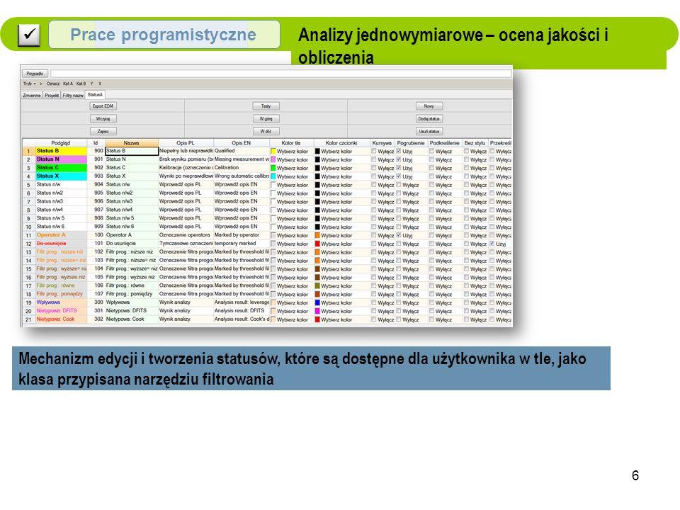 Analizy jednowymiarowe – ocena jakości i obliczenia Mechanizm edycji i tworzenia statusów, które są dostępne dla użytkownika w tle, jako klasa przypisana narzędziu filtrowania Programistyczne Prace programistyczne 6