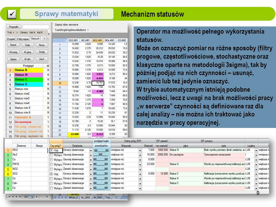 Merytoryczne Sprawy matematyki Mechanizm statusów Operator ma możliwość pełnego wykorzystania statusów.
