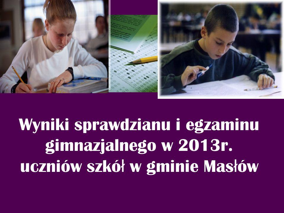 Wyniki sprawdzianu i egzaminu gimnazjalnego w 2013r. uczniów szkó ł w gminie Mas ł ów