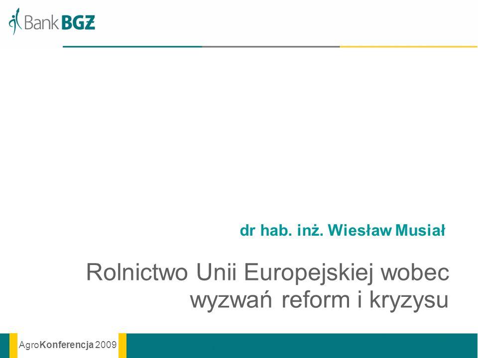 AgroKonferencja 2009 dr hab. inż. Wiesław Musiał Rolnictwo Unii Europejskiej wobec wyzwań reform i kryzysu