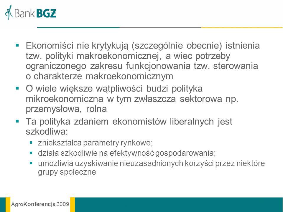 AgroKonferencja 2009 Ekonomiści nie krytykują (szczególnie obecnie) istnienia tzw. polityki makroekonomicznej, a wiec potrzeby ograniczonego zakresu f