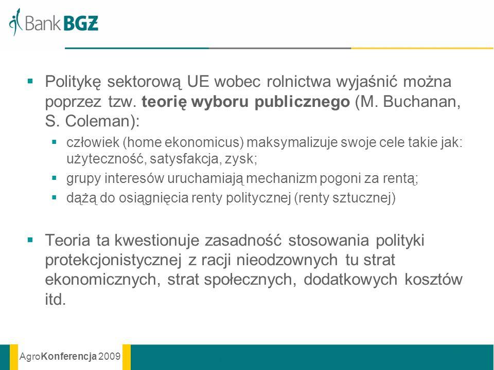 AgroKonferencja 2009 Politykę sektorową UE wobec rolnictwa wyjaśnić można poprzez tzw. teorię wyboru publicznego (M. Buchanan, S. Coleman): człowiek (