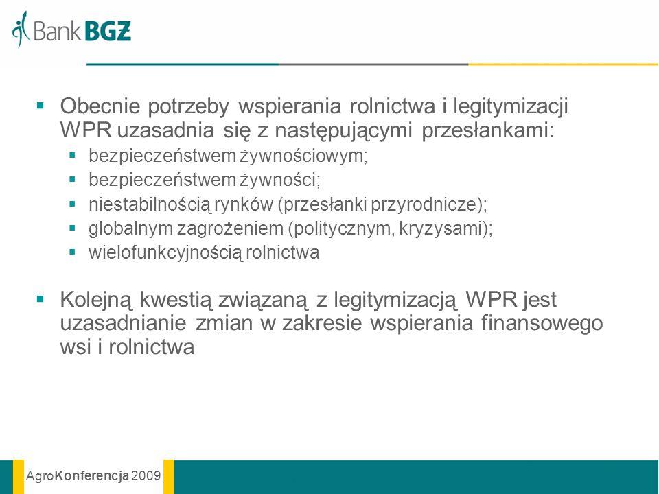 AgroKonferencja 2009 Obecnie potrzeby wspierania rolnictwa i legitymizacji WPR uzasadnia się z następującymi przesłankami: bezpieczeństwem żywnościowy