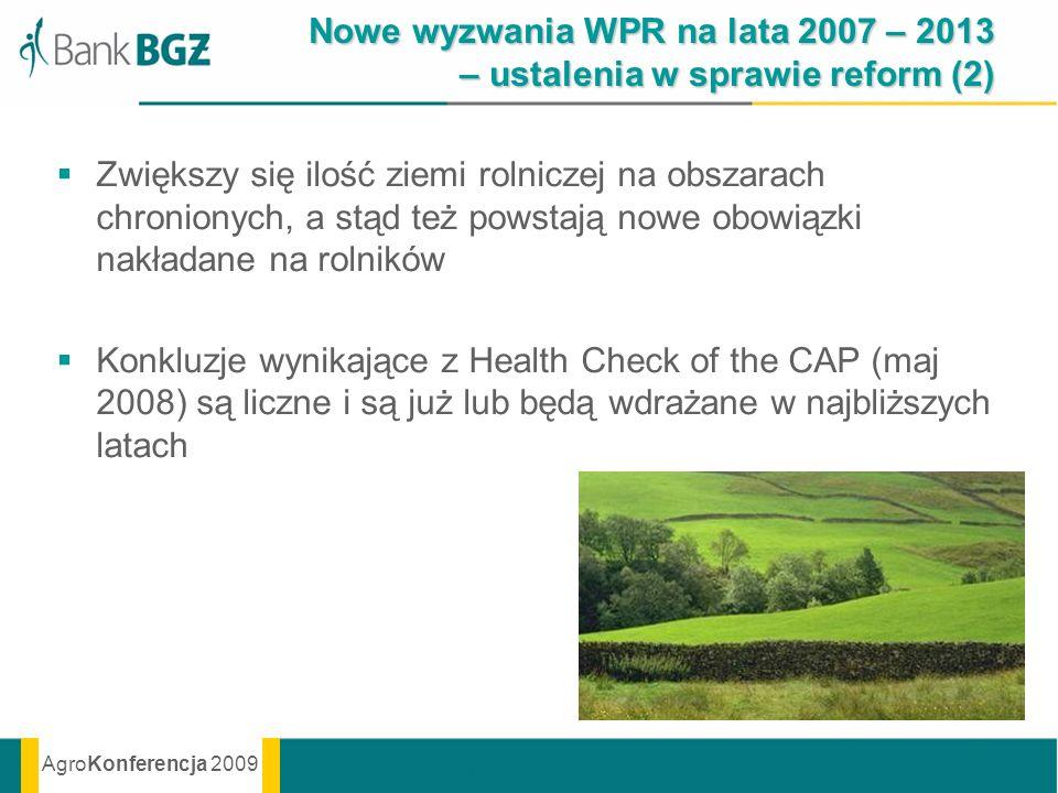 AgroKonferencja 2009 Nowe wyzwania WPR na lata 2007 – 2013 – ustalenia w sprawie reform (2) Zwiększy się ilość ziemi rolniczej na obszarach chronionyc