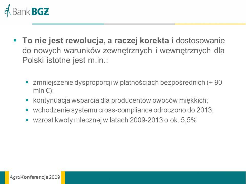 AgroKonferencja 2009 To nie jest rewolucja, a raczej korekta i dostosowanie do nowych warunków zewnętrznych i wewnętrznych dla Polski istotne jest m.i