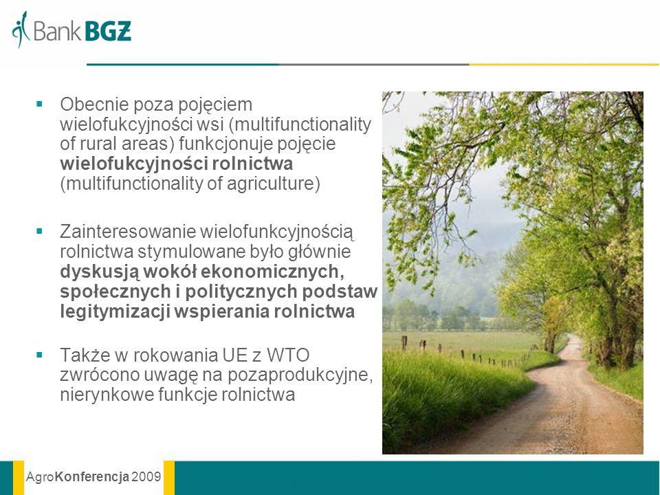 AgroKonferencja 2009 Obecnie poza pojęciem wielofukcyjności wsi (multifunctionality of rural areas) funkcjonuje pojęcie wielofukcyjności rolnictwa (mu