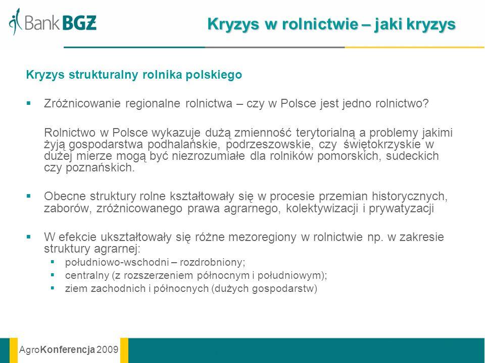 AgroKonferencja 2009 Kryzys w rolnictwie – jaki kryzys Kryzys strukturalny rolnika polskiego Zróżnicowanie regionalne rolnictwa – czy w Polsce jest je
