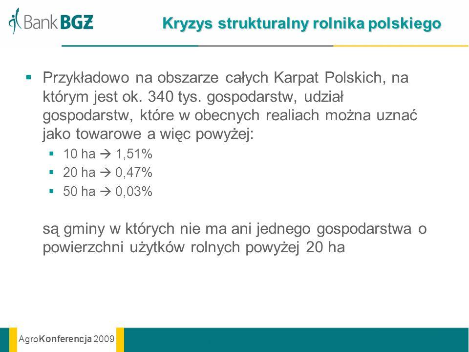 AgroKonferencja 2009 Przykładowo na obszarze całych Karpat Polskich, na którym jest ok. 340 tys. gospodarstw, udział gospodarstw, które w obecnych rea