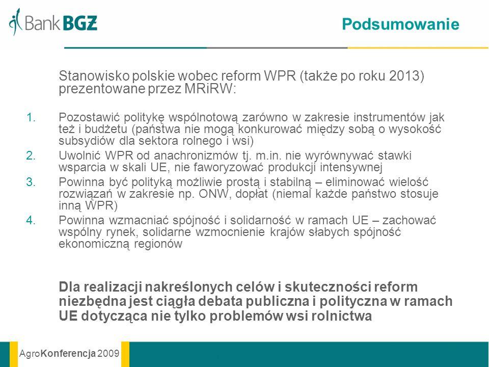 AgroKonferencja 2009 Podsumowanie Stanowisko polskie wobec reform WPR (także po roku 2013) prezentowane przez MRiRW: 1.Pozostawić politykę wspólnotową