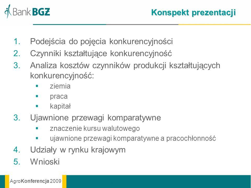 AgroKonferencja 2009 Konspekt prezentacji 1.Podejścia do pojęcia konkurencyjności 2.Czynniki kształtujące konkurencyjność 3.Analiza kosztów czynników
