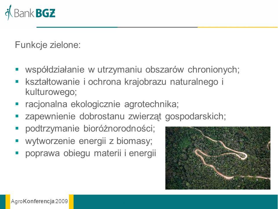 AgroKonferencja 2009 Funkcje zielone: współdziałanie w utrzymaniu obszarów chronionych; kształtowanie i ochrona krajobrazu naturalnego i kulturowego;