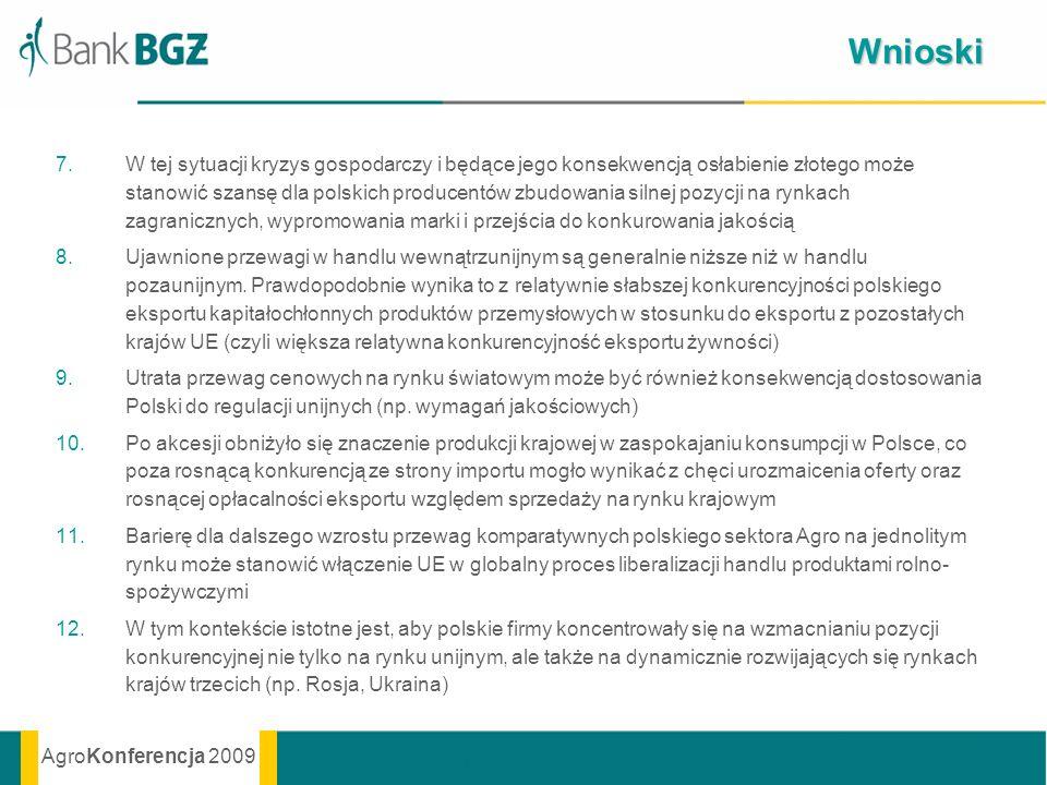 AgroKonferencja 2009 Wnioski 7.W tej sytuacji kryzys gospodarczy i będące jego konsekwencją osłabienie złotego może stanowić szansę dla polskich produ