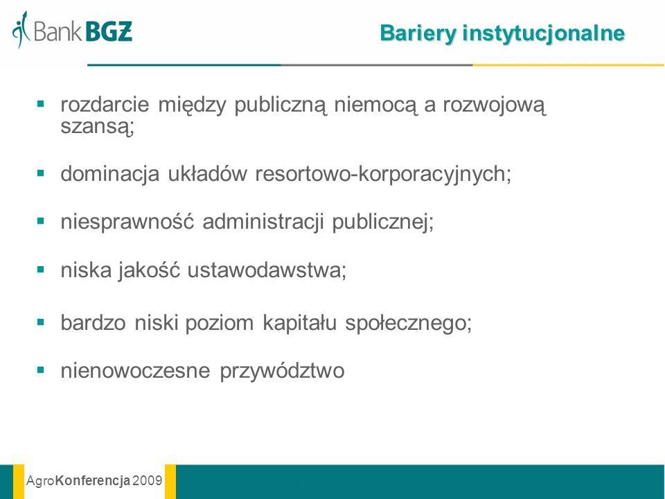 AgroKonferencja 2009 Bariery instytucjonalne rozdarcie między publiczną niemocą a rozwojową szansą; dominacja układów resortowo-korporacyjnych; niespr