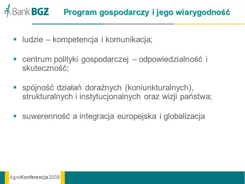 AgroKonferencja 2009 Program gospodarczy i jego wiarygodność ludzie – kompetencja i komunikacja; centrum polityki gospodarczej – odpowiedzialność i sk