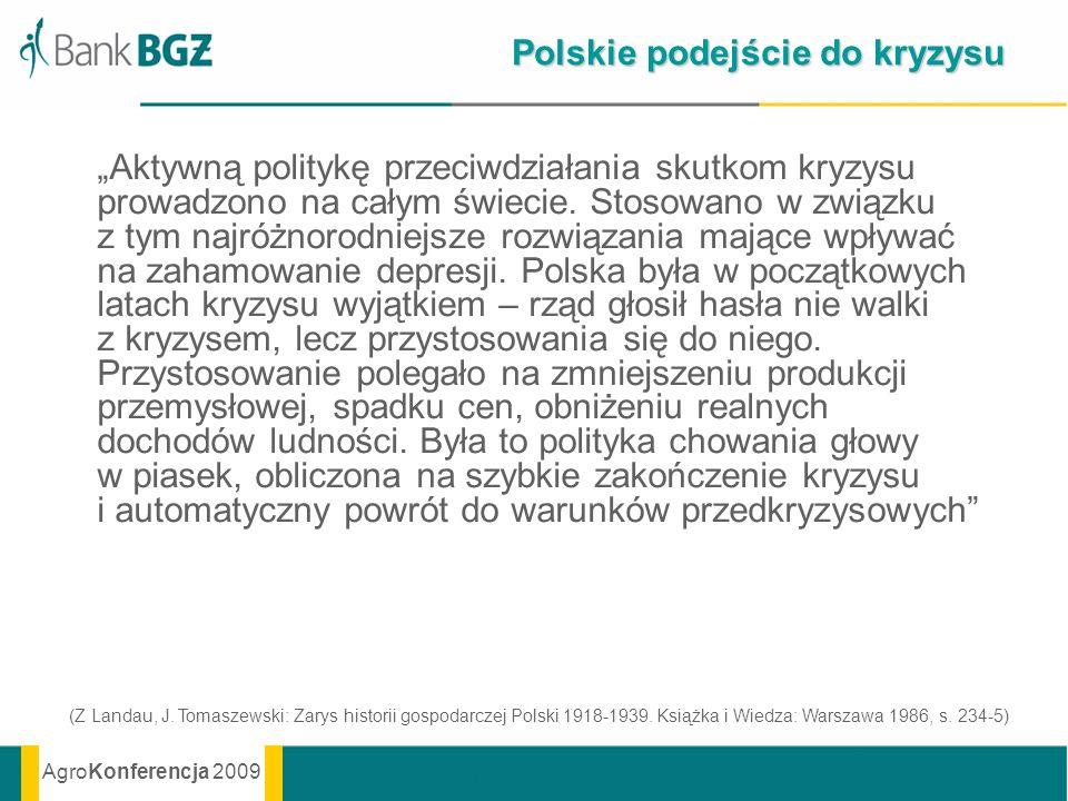 AgroKonferencja 2009 Polskie podejście do kryzysu Aktywną politykę przeciwdziałania skutkom kryzysu prowadzono na całym świecie. Stosowano w związku z