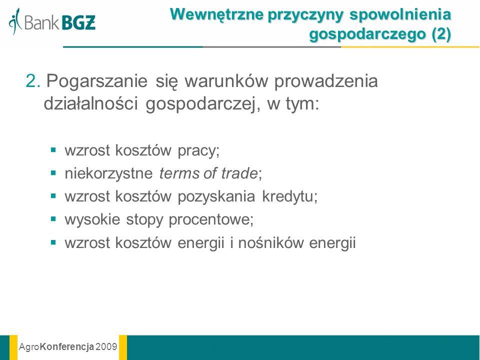 AgroKonferencja 2009 Wewnętrzne przyczyny spowolnienia gospodarczego (2) 2. Pogarszanie się warunków prowadzenia działalności gospodarczej, w tym: wzr