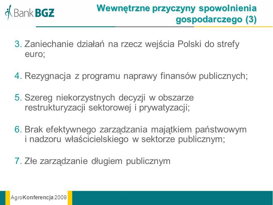 AgroKonferencja 2009 Wewnętrzne przyczyny spowolnienia gospodarczego (3) 3. Zaniechanie działań na rzecz wejścia Polski do strefy euro; 4. Rezygnacja