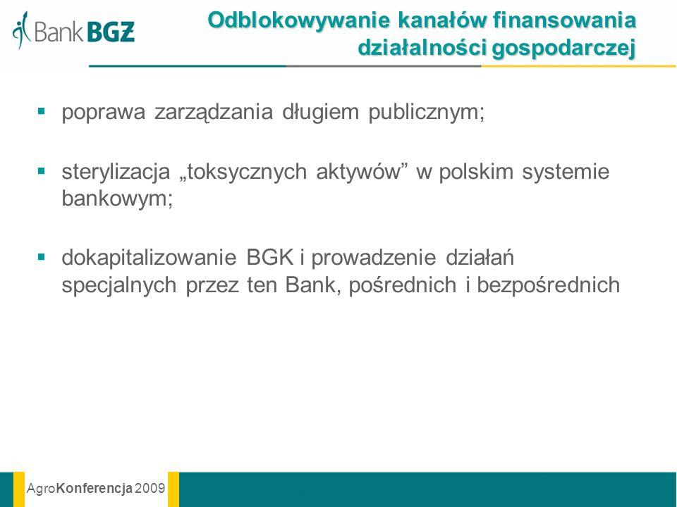 AgroKonferencja 2009 Odblokowywanie kanałów finansowania działalności gospodarczej poprawa zarządzania długiem publicznym; sterylizacja toksycznych ak