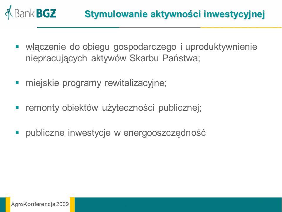 AgroKonferencja 2009 Stymulowanie aktywności inwestycyjnej włączenie do obiegu gospodarczego i uproduktywnienie niepracujących aktywów Skarbu Państwa;