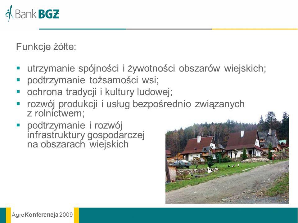 AgroKonferencja 2009 Funkcje żółte: utrzymanie spójności i żywotności obszarów wiejskich; podtrzymanie tożsamości wsi; ochrona tradycji i kultury ludo