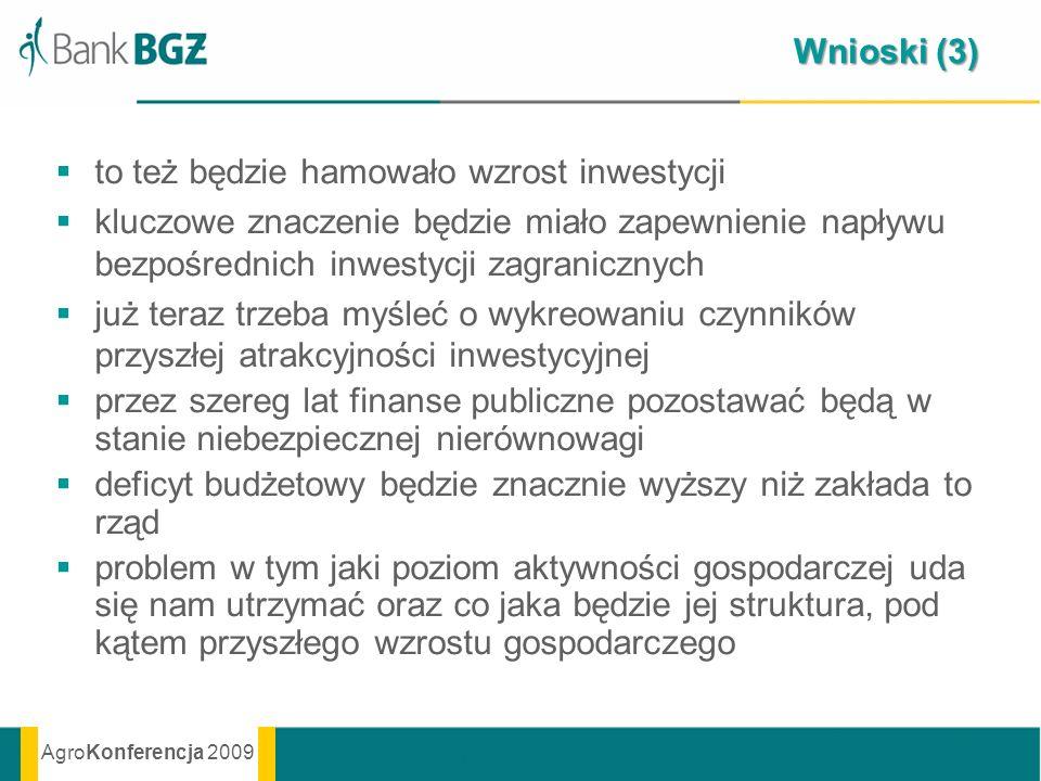 AgroKonferencja 2009 Wnioski (3) to też będzie hamowało wzrost inwestycji kluczowe znaczenie będzie miało zapewnienie napływu bezpośrednich inwestycji