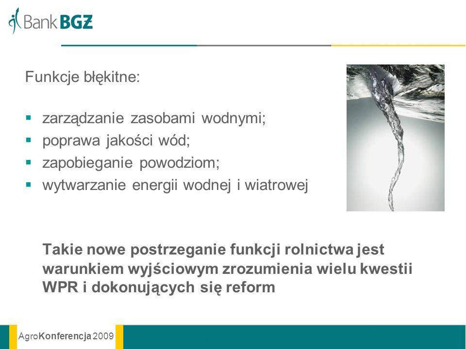 AgroKonferencja 2009 Funkcje błękitne: zarządzanie zasobami wodnymi; poprawa jakości wód; zapobieganie powodziom; wytwarzanie energii wodnej i wiatrow