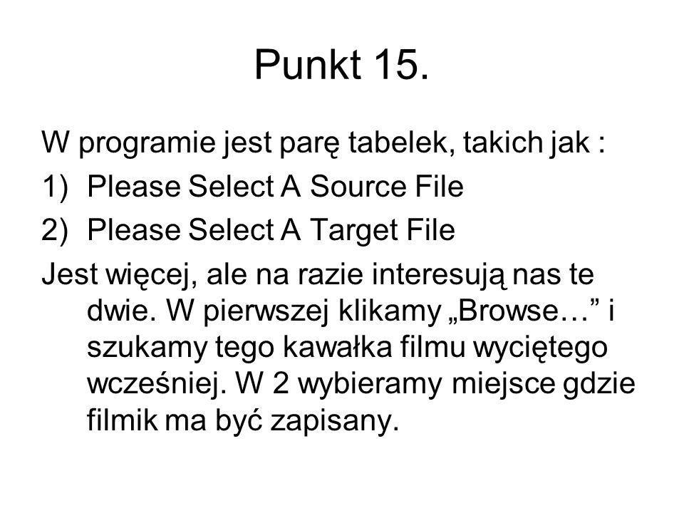 Punkt 15. W programie jest parę tabelek, takich jak : 1)Please Select A Source File 2)Please Select A Target File Jest więcej, ale na razie interesują