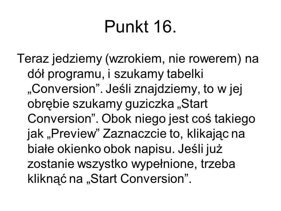 Punkt 16. Teraz jedziemy (wzrokiem, nie rowerem) na dół programu, i szukamy tabelki Conversion. Jeśli znajdziemy, to w jej obrębie szukamy guziczka St