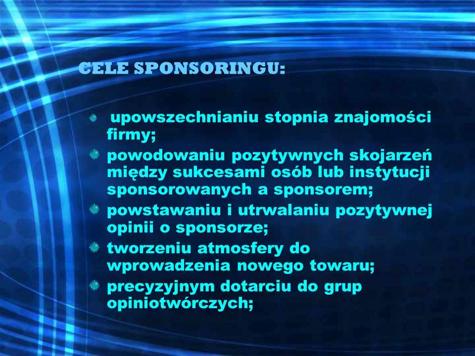 CELE SPONSORINGU: upowszechnianiu stopnia znajomości firmy; powodowaniu pozytywnych skojarzeń między sukcesami osób lub instytucji sponsorowanych a sp