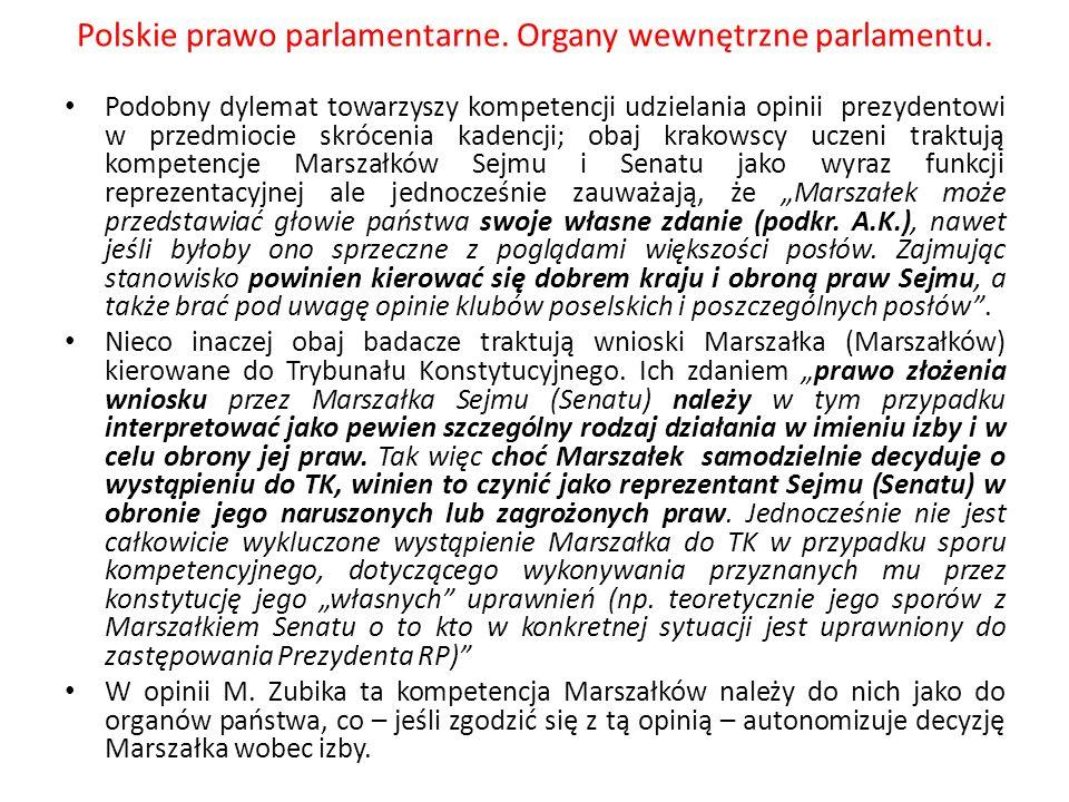 Polskie prawo parlamentarne. Organy wewnętrzne parlamentu. Podobny dylemat towarzyszy kompetencji udzielania opinii prezydentowi w przedmiocie skrócen