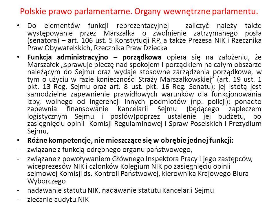 Polskie prawo parlamentarne. Organy wewnętrzne parlamentu. Do elementów funkcji reprezentacyjnej zaliczyć należy także występowanie przez Marszałka o