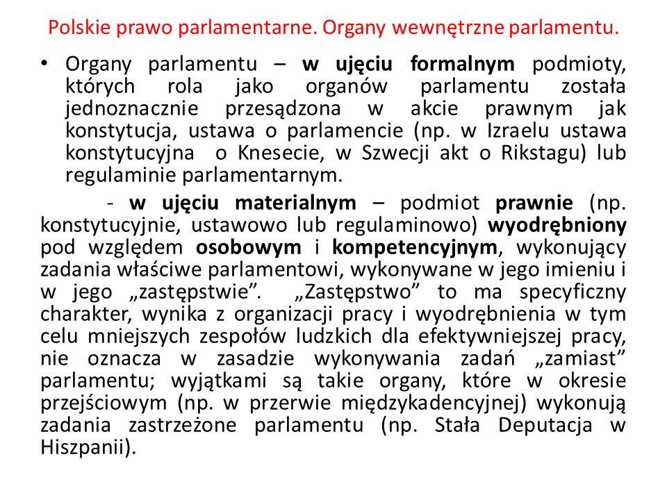 Polskie prawo parlamentarne. Organy wewnętrzne parlamentu. Organy parlamentu – w ujęciu formalnym podmioty, których rola jako organów parlamentu zosta