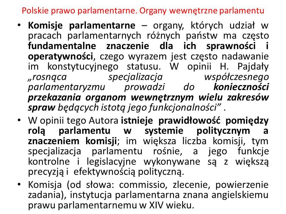 Polskie prawo parlamentarne. Organy wewnętrzne parlamentu Komisje parlamentarne – organy, których udział w pracach parlamentarnych różnych państw ma c