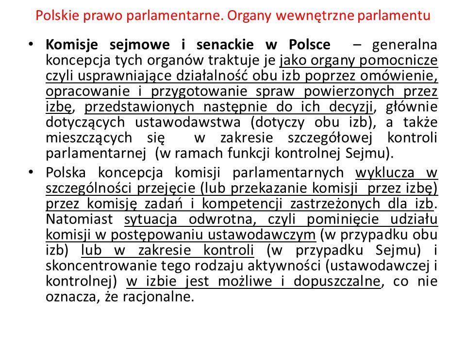 Polskie prawo parlamentarne. Organy wewnętrzne parlamentu Komisje sejmowe i senackie w Polsce – generalna koncepcja tych organów traktuje je jako orga