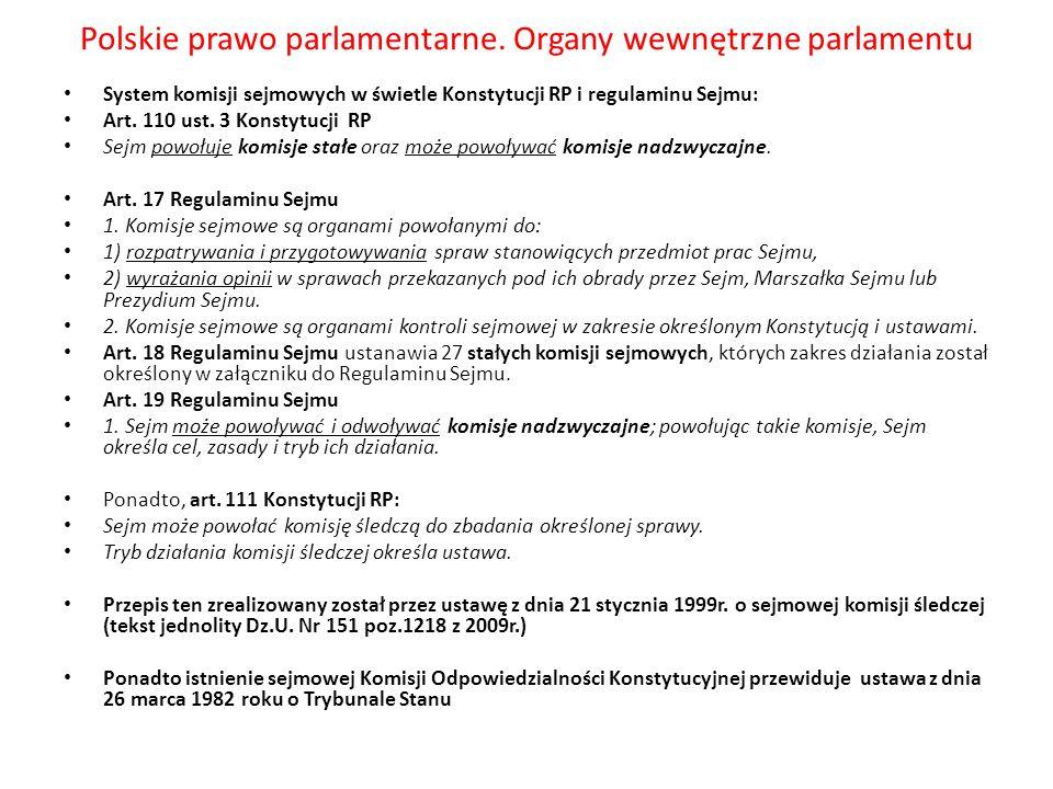 Polskie prawo parlamentarne. Organy wewnętrzne parlamentu System komisji sejmowych w świetle Konstytucji RP i regulaminu Sejmu: Art. 110 ust. 3 Konsty