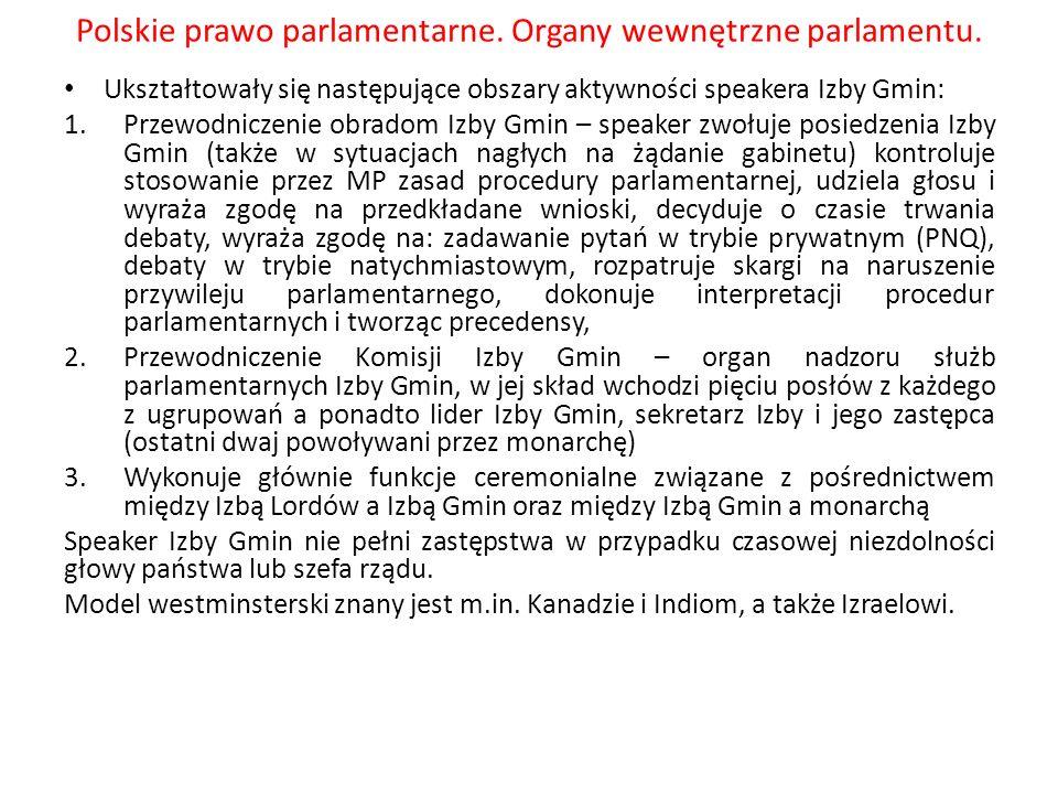 Polskie prawo parlamentarne.Organy wewnętrzne parlamentu Wyrok TK sygn.