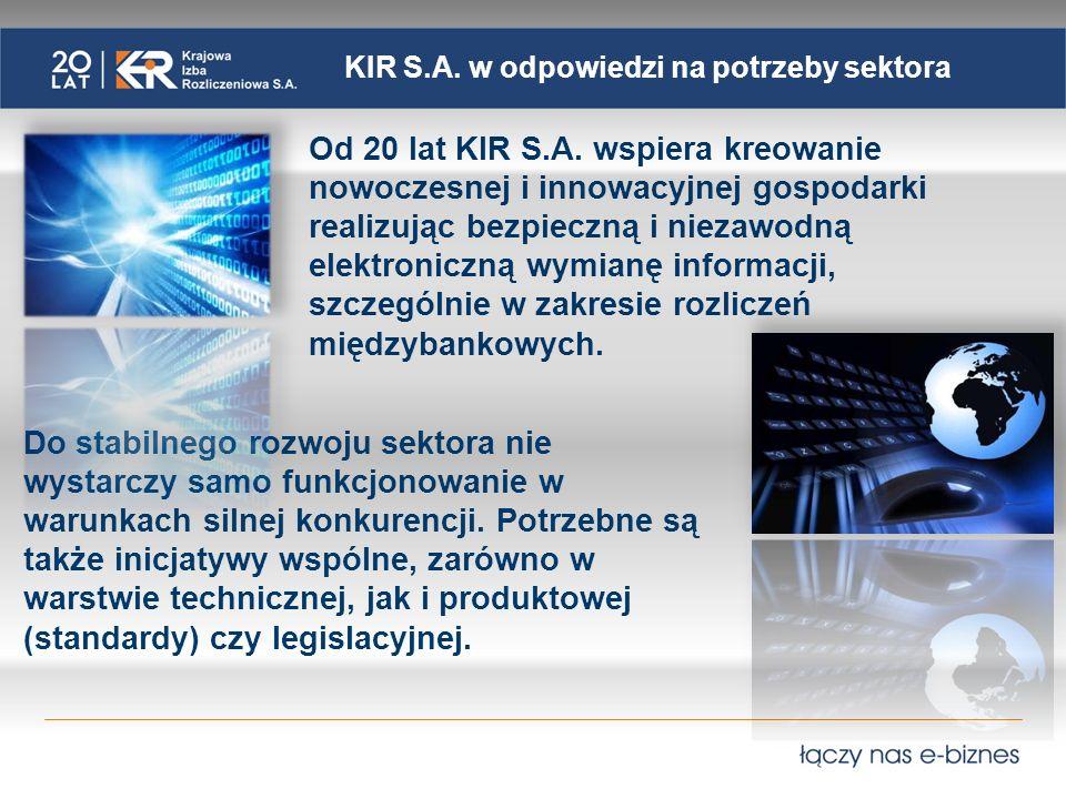 KIR S.A. w odpowiedzi na potrzeby sektora Od 20 lat KIR S.A. wspiera kreowanie nowoczesnej i innowacyjnej gospodarki realizując bezpieczną i niezawodn