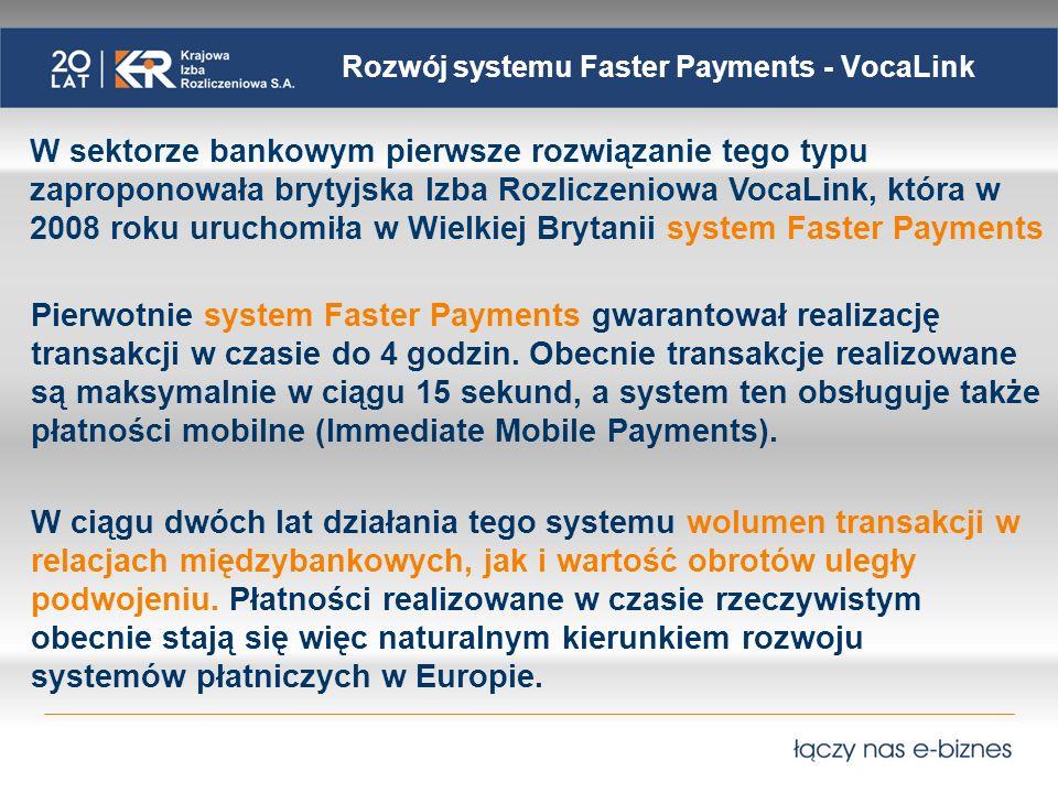 Rozwój systemu Faster Payments - VocaLink W sektorze bankowym pierwsze rozwiązanie tego typu zaproponowała brytyjska Izba Rozliczeniowa VocaLink, któr