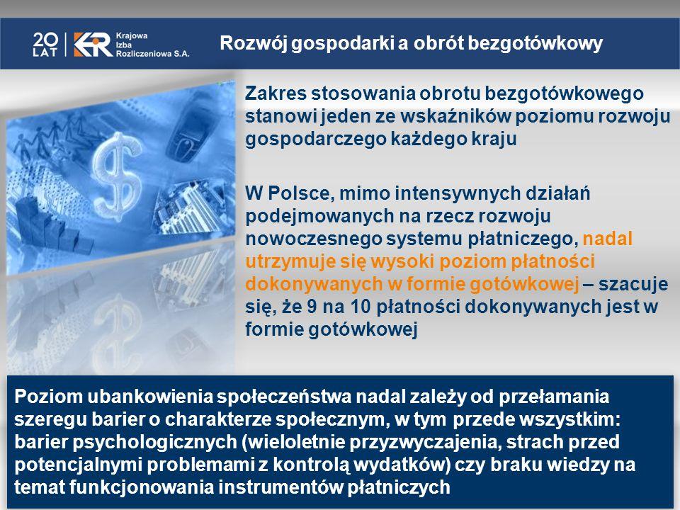 Polski system płatniczy na tle UE i Strefy Euro* Liczba rachunków bankowych na 1 mieszkańca Liczba transakcji kartami płatniczymi na 1 mieszkańca *dane wg raportu NBP Porównanie wybranych elementów polskiego systemu płatniczego z systemami innych krajów UE za 2010 rok